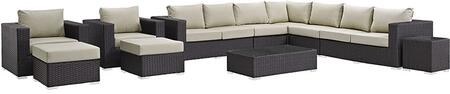 Sojourn Collection EEI-1885-CHC-BEI-SET 11-Piece Outdoor Patio Sunbrella Sectional Set with Coffee Table  Corner Section  Left Arm Loveseat  Right Arm Loveseat