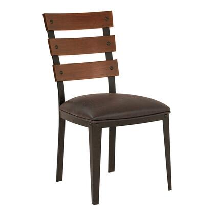 Saugus Collection LCSACHABES Contemporary Dining Chair in Auburn Bay Finish with Bandero Espresso Fabric and Sedona Wood Back - Set of
