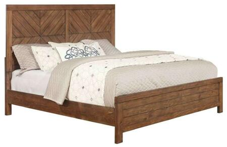 Reeves Collection 215731KE King Size Bed with Planked Patterned Headboard  Low Footboard and Sturdy Wood Construction in Mojave