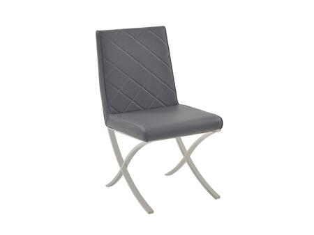 Loft Collection CB-922-G Dining Chair with Mid High Backrest  Modern Style  Chrome Metal Base  Commercial Grade and Eco-Leather Upholstery in Dark Grey