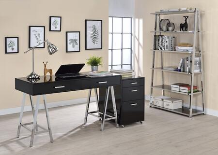 Coleen Collection 3 PC Office Furniture Set with Desk + File Cabinet + Bookshelf in Black High Gloss and Chrome