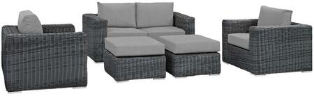 Summon Collection EEI-1893-GRY-GRY-SET 5-Piece Outdoor Patio Sunbrella Sectional Set with Loveseat  2 Armchairs and 2 Ottomans in Canvas Grey