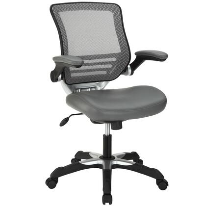Edge Collection EEI-595-GRY Office Chair with Adjustable Seat Height  Flip-Up Arms  Casters  Tilt Tension Control  Mesh Backrest  Sponge Seat and Vinyl Seat