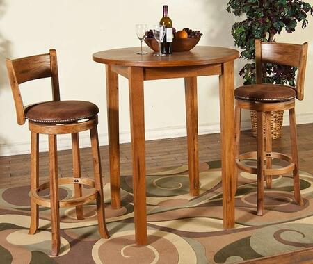 Sedona Collection 1278ROBT2SS 3-Piece Bar Table Set with Pub Table and 2 Swivel Stools in Rustic Oak