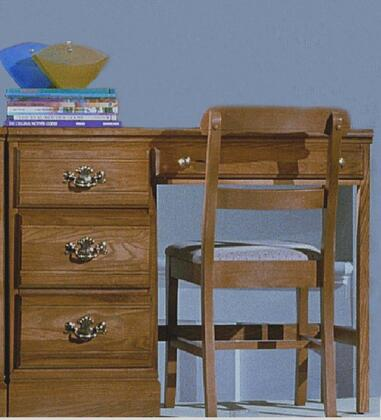 Carolina Oak 231400 4 Drawers Student Desk with Durable Hardwood Construction and High Pressure Laminate Top in Golden