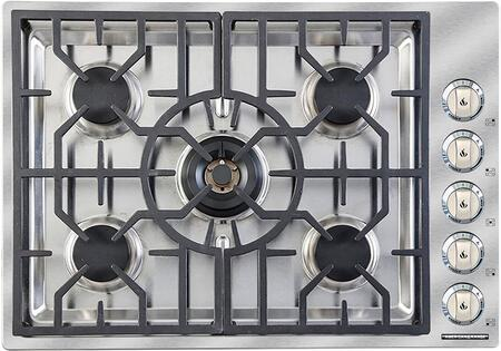 ARDCT-305L 30 inch  Gas Cooktop with 5 Sealed Burners  Low Simmer 500 BTU Setting  Brass Burner Heads  Porcelain Burner Caps  Die Cast Black Satin Knobs with Chrome