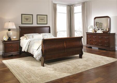 Carriage Court Collection 709-BR-KSLDMN 4-Piece Bedroom Set with King Sleigh Bed  Dresser  Mirror and Night Stand in Mahogany Stain