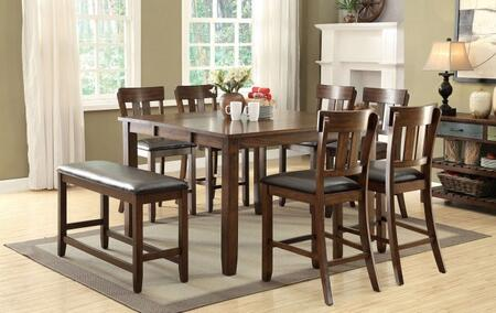 Brockton II Collection CM3355PT6PCPBN 8-Piece Dining Room Set with Square Table  6 Counter Height Side Chairs and Counter Height Bench in Rustic Oak