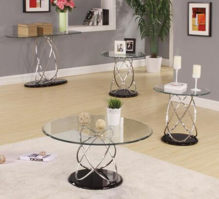 80795CS2E Deron 4 Piece Table Sets with Coffee Table  Sofa Table and 2 End Tables with 8mm Tempered Round Clear Glass Top  High Gloss Black MDF Base and Chrome