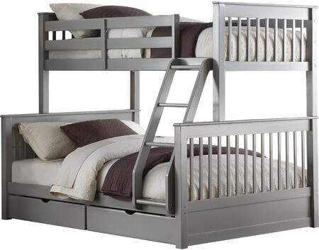Haley II Collection 37755 Twin Over Full Size Bunk Bed with 2 Drawers  Built-In Ladder  Slat System Included  Pine and Engineered Wood Construction in French