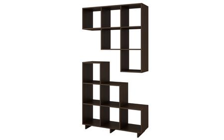 2-26AMC49 Sophisticated Cascavel Stair Cubby with 6 Cube Shelves in Tobacco. Set of