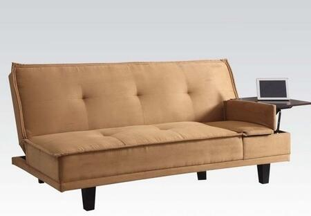 Berkeley Collection 57127 71 inch  Adjustable Sofa with Hidden Table  Tapered Legs  Tufted Cushions and Microfiber Upholstery in Light Brown