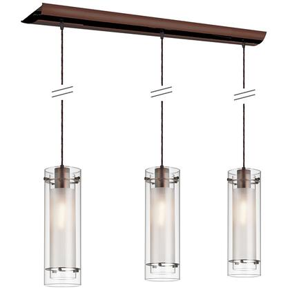 22153-CF-OBB 3 Light Horizontal Pendant  Oil Brushed Bronze Finish  Clear Frosted