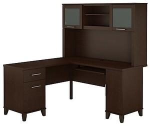 Somerset WC81830K-31 Desk and Hutch with Simple Pulls  One Cabinet and One Filing Cabinet in Mocha Cherry
