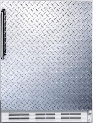 FF6L7DPLADA 24 inch  ADA compliant commercial all-refrigerator for freestanding general purpose use  auto defrost with diamond plate door  towel bar handle  lock