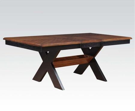 Sonya Collection 71290 60 inch  - 78 inch  Extendable Dining Table with Trestle Base and Rectangular Shape in Oak and Black