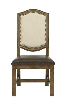 8854154B 19 inch  American Attitude Wide Frame Side Chair with Upholstered Seat and Back  Block Feet  Nail Head Accents and Distressed Detailing in