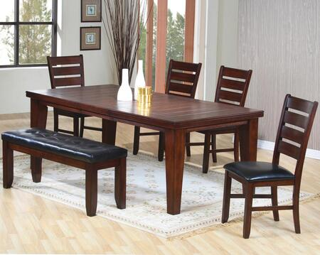 101881SET6 Imperial 6 PC Dining Room Table  4 Chairs and 1 Bench with Bold Tapered Legs  Ladder Back Design and Black Cushioned Seats in Rustic Oak