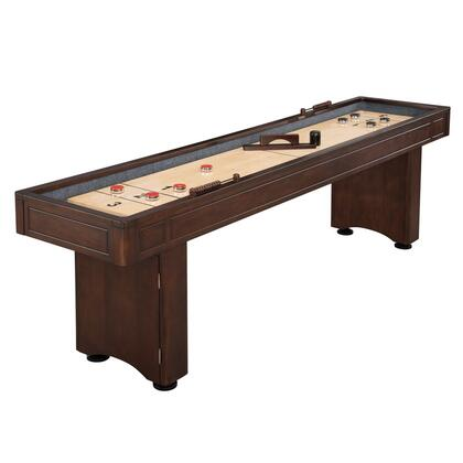 NG1209 Austin 9' Shuffleboard Table with Carpeted Walls and Gutter  Pedestal Style Legs  3 Heavy-Duty Climate Adjusters and 2 Wood Abacus Scoring
