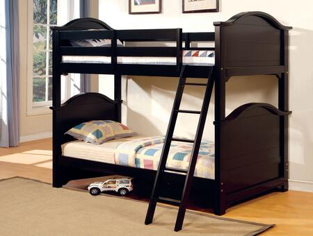 Chesapeake Collection CM-BK616-BED Twin Size Bunk Bed with Angled Ladder  4 PC Slats Top and Bottom  Solid Wood and Wood Veneers Construction in Black