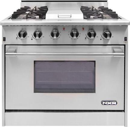 """DRGB3601 36"""" Pro-Style Gas Range With 4 Sealed Burners 18 500 BTU Infrared Griddle 5.2 cu. ft. Manual Clean Convection Oven and Infrared Broiler in"""