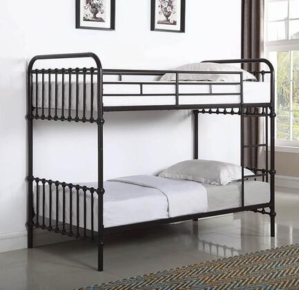 Hankin Collection 461105 Twin Size Bunk Bed with Slatted Panels  Built-In Ladder and Steel Metal Construction in Dark