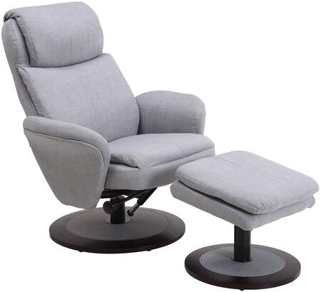 Comfort Chair Collection DENMARK-180-200 17 inch  Denmark Recliner and Ottoman with Alpine Wood Frame  360 Degree Swivel  Adjustable Recline  Lumbar Support and