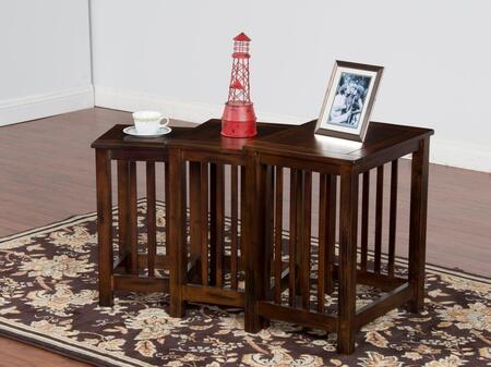 Santa Fe Collection 2123DC-2 3-Piece Nesting Table Set with Apron  Stretchers and Distressed Detailing in Dark Chocolate
