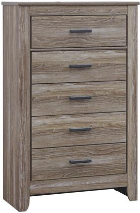 Zelen B248-46 34 5-Drawer Chest with Replicated Oak Grain  Large Dark Pewter Color Handles and Side Roller Glides in Warm