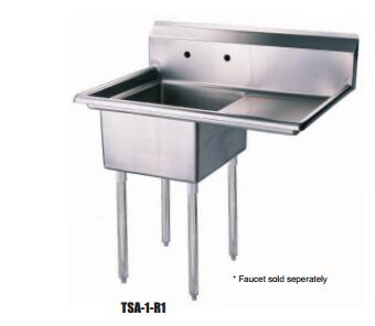TSA-1-R1 Right Side Drain Board 39 inch W One Compartment Sink with Swirl Away Bowl Drainage and Adjustable ABS Bullet Feet in Stainless