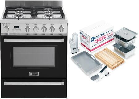 2-Piece Black Kitchen Package with VEFSGE304PE 30 inch   Freestanding Dual Fuel Range and Chefs