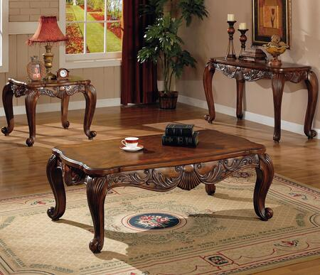 Venice 700468CES 3 PC Living Room Table Sets with Coffee Table + End Table + Sofa Table in Deep Brown