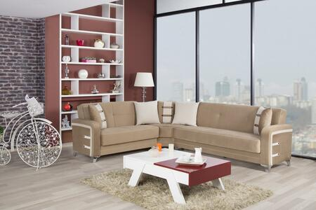 Decora DESECGBN Sectional with Matching Pillows  Tapered Polished Metal Feet and Button Detailing in Golf