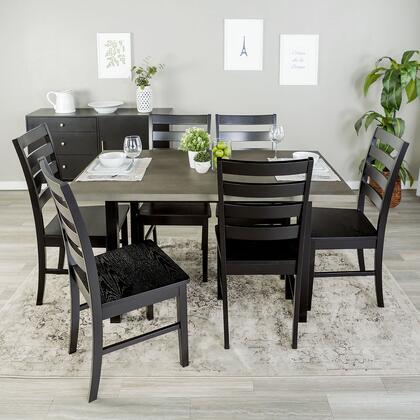 C60MDBAGY-7 7-Piece Rustic Modern Farmhouse Wood Kitchen Dining Set in Aged Grey /