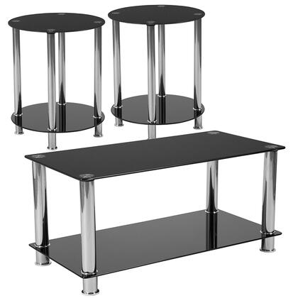 Riverside Collection HG-CEK-18-GG 3 Piece Coffee And End Table Set With Black Glass Tops And Stainless Steel