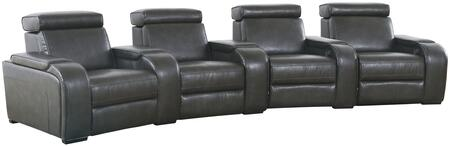 Meadows Collection 4 Seat Power Recline Theater Set with Storage Consoles  Sinuous Seat Spring  Grade Deluxe Foam Cushions  Wood Frame and Leather Air