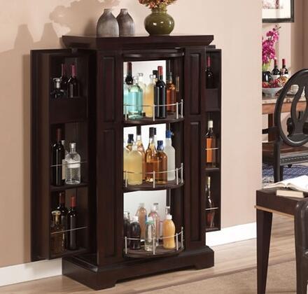 BC2426-E451-31 Metro Beverage Curio Cabinet With 3 Tier Beverage Curio Cabinet  Brushed Nickel Handle  Pedestal Base  Locking Cabinet Door & In