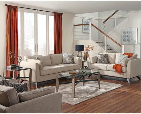 Amsterdam Collection 5055216ST 6 PC Living Room Set with Sofa + Loveseat + Chair + 2 End Tables + Coffee Table in Moonrise and Rustic