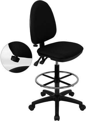WL-A654MG-BK-D-GG Mid-Back Black Fabric Multi-Functional Drafting Stool with Adjustable Lumbar
