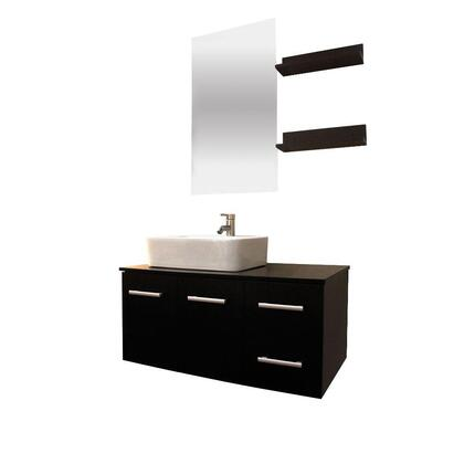 9093-BROWN Anael 36 inch . Single Vanity In White With Glass Vanity Top In Black And