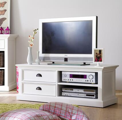814495012697 CA592-120 HALIFAX Entertainment and TV-Media Stand with Two Drawers  Two Open Shelves and SOlid Plantation Mahogany Wood in White