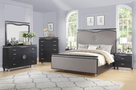 Valencia Collection VALENCIA QUEEN BED SET 6-Piece Bedroom Set with Queen Size Bed  Dresser  Mirror  Chest and 2 Nightstands in