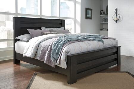 Brinxton Collection B249-68-66-99 King Size Panel Bed with Clean Line Design  Horizontal Pocket Details  Block Feet and Replicated Oak Grain in