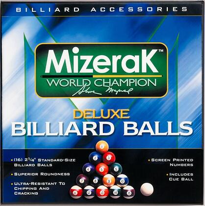 P0512 Deluxe Billiard Ball Set with 2.25 inch  15 Pool Balls and a Cue