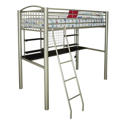Gavin Collection D1109Y17 Twin Loftbed with 2 USB Charging Outlets  4 Small Shelves and Ladder in