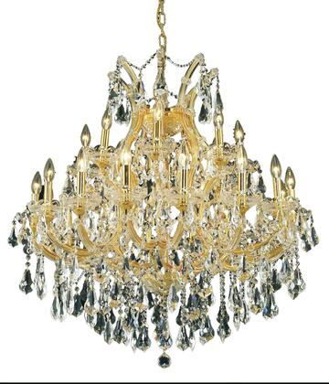 2801D36G/RC 2801 Maria Theresa Collection Hanging Fixture D36in H36in Lt: 24+1 Gold Finish (Royal Cut