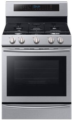 "NX58M6650WS 30"" Freestanding Gas Range with 5.8 cu. ft. Oven Capacity  5 Sealed Burners  True Convection  and Steam Reheat  in Stainless"