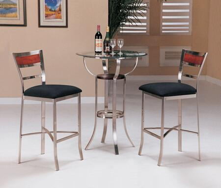 Laurel Collection 3 PC Bar Table Set with Bar Table + 2 Bar Stools in Chrome
