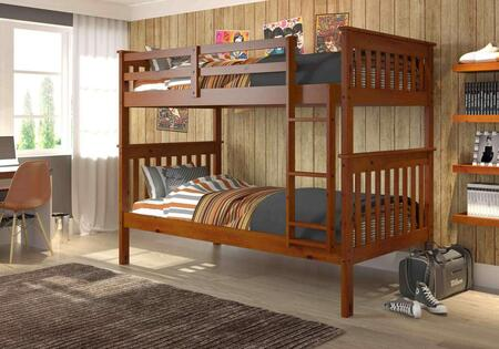 120-3E Twin Over Twin Bunk Bed with Attached Ladder  Slat Headboard and Footboard in Light