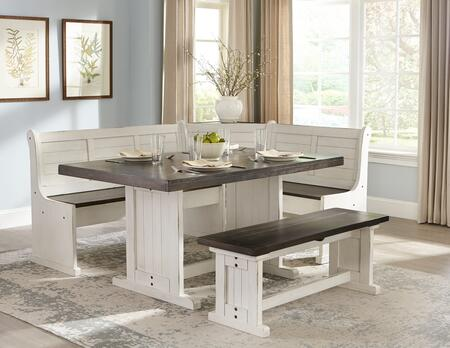 Carriage House Collection 0113EC 3-Piece Breakfast Nook Set with Side Bench  L-Shaped Bench and Table in European